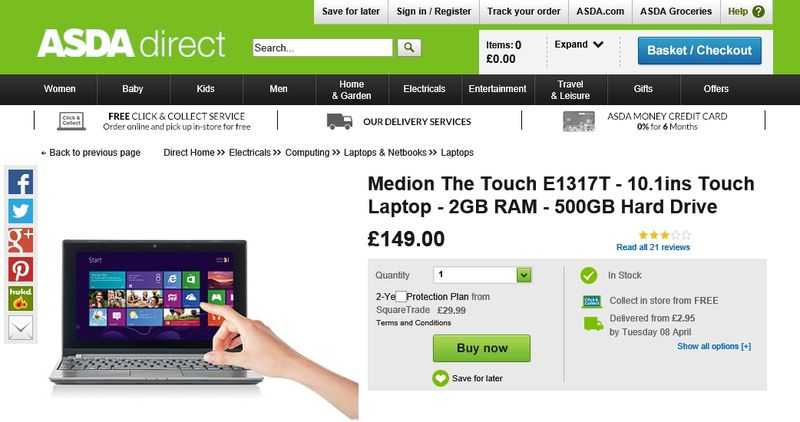 Medion laptop at ASDA